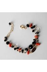 Bracciale a  2 fili, Agata nera, corallo rosso