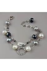 Bracciale a 2 fili perle di fiume, ematite