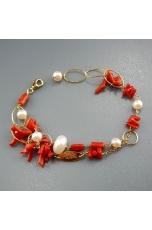 Bracciale a 2 fili, corallo rosso, perle di fiume