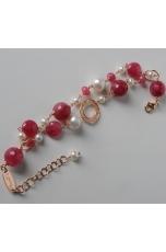 Bracciale a 2 fili, giada rosa, perle di fiume