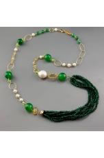 Agata verde smeraldo, perle coltivate
