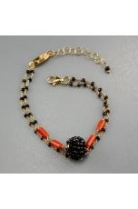 Bracciale a 2 fili, rosarietto spinello nero, corallo rosso