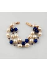 Bracciale a 3 fili Perle di fiume, agata blu zaffiro