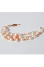 Bracciale a 3 fili, Conchiglia, Corallo rosa, perle di fiume