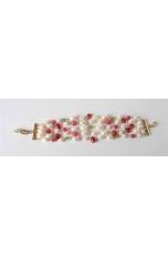 Bracciale a 5 fili,perle di fiume, giada rosa, peridot