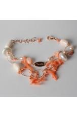 Bracciale a due fili, corallo rosa, conchiglia, perle di fiume