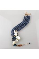 Bracciale agata blu zaffiro, perle di fiume
