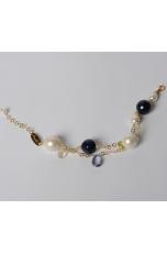 Bracciale agata blu, perle barocche,t.macchina