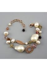 Bracciale a 2 fili,  perle di fiume barocche, tormaline