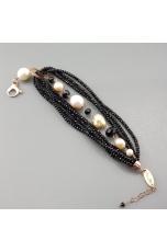 Bracciale agata nera, perle di fiume