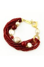 Bracciale agata ruby, perle di fiume