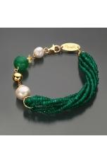 Bracciale agata verde smeraldo, q.citrino, perle di fiume