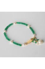 Bracciale agata verde taglio macchina, perle di fiume