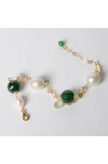 bracciale agata verde, perle barocche,t.macchina