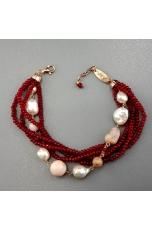Bracciale agta ruby, opale rosa, perle di fiume