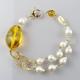 Bracciale ambra messicana, perle barocche