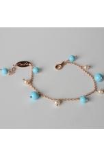 Bracciale charms, perle di fiume, pasta turchese 4 fiori