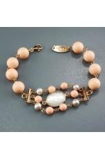 Bracciale corallo bamboo rosa, perle grigie
