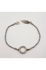 Bracciale ematite argento, zirconi cubici