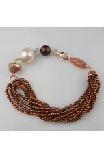 Bracciale ematite bronzo, perle di fiume