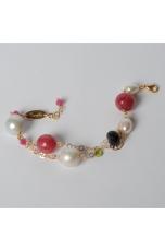 bracciale giada rosa, perle barocche,t.macchina