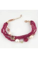 Bracciale giada rosa, perle di fiume, olivina