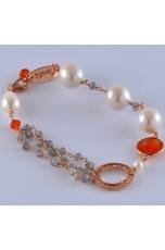 Bracciale labradorite,agata arancione, perle barocche