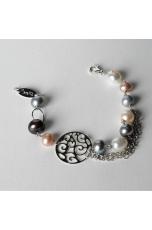 Bracciale perle di fiume  bianche e grigie