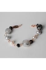 Bracciale quarzo rutilato grigio, perle di fiume