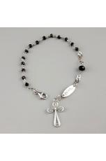 Bracciale rosarietto e croce filigrana