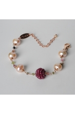 Bracciale rosarietto tormaline, perle di fiume