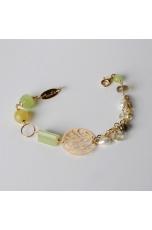 Bracciale,  giada lemon,  granato verde, citrino, perle di fiume