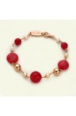 Bracciale, giada rosa, perle di fiume
