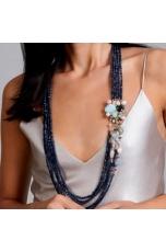 Chanel 80 cm agata blu zaffiro, acquamarina multicolor,perle di fiume