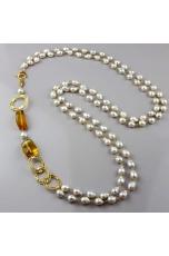 Chanel a 2 fili perle barocche, ambra messicana