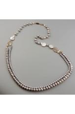 Chanel a 2 fili perle di fiume grigie