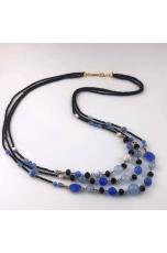 Chanel a 3 fili, agata blu, agata nera