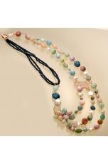 Chanel acquamarina multicolor,perle di fiume, agata blu zaffiro