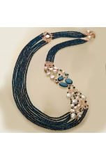 Chanel agata blu zaffiro, perle coltivate