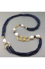Chanel agata blu zaffiro, perle barocche
