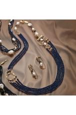 Chanel agata blu zaffiro, perle di fiume