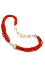 Chanel corallo bamboo rosso, perle barocche, filigrana