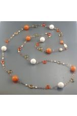 Chanel giada arancione, agata bianca, castoli e goccine citrino