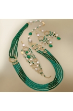 Chanel multifili agata verde smeraldo, perle di fiume