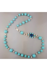 Chanel pasta turchese 4 f. perle di fiume,castoni quarzo blue light
