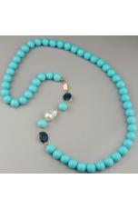 Chanel pasta turchese 4 f. 12mm,perla barocca,castoni quarzo blue light