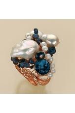 Anello agata blu zaffiro, perle di fiume