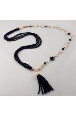 Chanel pon pon agata nera, perle di fiume