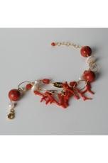 Bracciale a 2 fili, corallo rosso, madrepora, perle di fiume