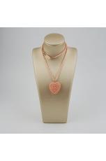 Ciondolo cuore tessuto a mano e girocollo in corallo bamboo rosa